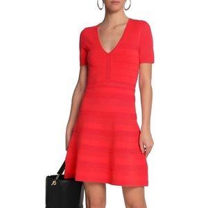 Sandro Milau Midi Stretch Dress in Bordeaux Red